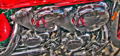 Reflections of Me in a Motorcycle's Engines, HDR Montage (Walker Dukes) Tags: sanfrancisco california road blue trees red sky orange white house selfportrait black green colors bike clouds self canon silver 3d pipes pipe warped rubber highlights jeans sp highdefinition bolts pedals trippy psychedelic gravel metalic reflector 3dimensional highdefinitionresolution canons95