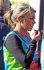 Billi Mucklow applying her lip gloss The 2012 Virgin London Marathon London, England