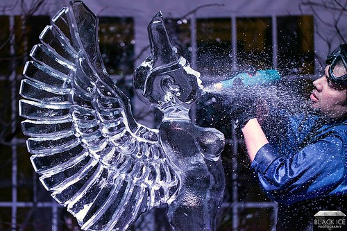 Winged Justice Ice Sculpting Demo in Madison, Wisconsin Ice Sculptures