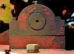 Waiting for a Job (BKHagar *Kim*) Tags: red metal truck al rust metallic alabama rusty firetruck madison bolt vehicle fireengine retired limestonefleamarket bkhagar burgreenroad