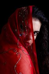 La seorita de la tela roja. 2/3 (Loida CriadoMore) Tags: red portrait india selfportrait eye me girl ojo spain chica hand gente embroidery retrato interior yo cloth autorretrato roja tela loidacriadomore