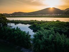 PhoTones Works #8013 (TAKUMA KIMURA) Tags: photones olympus air a01 takuma kimura   landscape scenery natural river setting sun dusk japan okayama summer mountain boat ship
