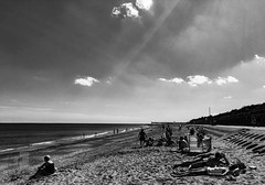 At the Beach (DeePee64) Tags: beach northbeach skegness lincolnshire northsea sand sea blackandwhite sunsrays clouds sunshine lightroom cc2016