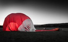 Down... (Rep001) Tags: bristol hot air balloon ashton court fiesta international landed down selective colour red letter bailey balloons 4071