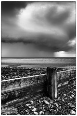 Approaching Storm (DugieUK) Tags: approaching storm fleetwood lancashire irish sea rain clouds wind black white water thunder wood beach breaker england united kingdom uk