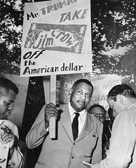 Robeson - Take Jim Crow off the American dollar: 1949 (washington_area_spark) Tags: dc bureau engraving printing plate printers us discrimination segregation jim crow skilled jobs assistants helpers civil rights protest demonstration picket rally speeches job employment margaret gilmore united public workers america local 3 upwa washington white house 1949 paul robeson