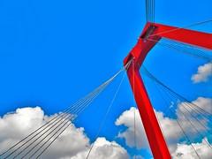DSC00117 (asamosaad) Tags: rotterdam nederland netherlands holland hollanda bridge brug willem willembrug zuidholland sky blue red architecture
