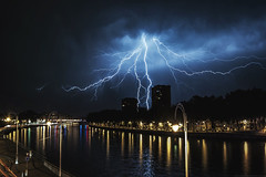 Twice the pleasure... (www.valsdarkroom.com) Tags: lightning storm meuse lameuse lige liege belgium river nightphotography longexposure night dark clouds nikon d700 lights