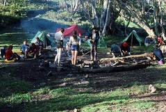 Victorian Alps, 1984 (NettyA) Tags: 35mm australia spanunlimited film scannedslide 35mmslidefilm victoria vic victorianalps alpinenationalpark australianalps camping tents fireplace bushwalkers bushwalking 1984