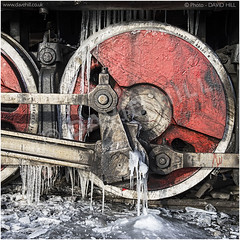 Winter Wheels (channel packet) Tags: china steam train locomotive railway railroad red driving wheel ice weather icicles davidhill