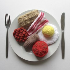 Big Breakfast (Knitting patterns by Amanda Berry) Tags: knitting knitted knits knit pattern patterns ravelry pdf download food play toy toys brekkie breakfast meals meal yarn hayfield dk sausage waffle tomato egg eggs bacon beans baked bean bobble waffles full english fry fried amanda berry fluff fuzz