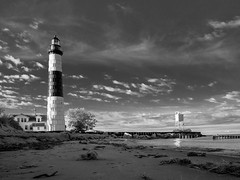 Big Sable (Bailiwick Studios) Tags: bigsablepointlighthouse ludingtonstatepark masoncounty michigan lighthouses blackandwhite outdoor monochrome cloud sky sea waterscape landscape panasonic14mmf25 blackwhite graytones contrast tower blackwhitepassionaward