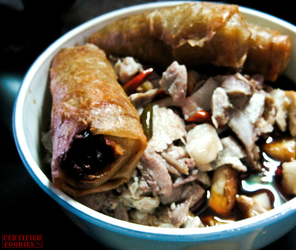 Sumpia with baboy side dish for lugaw