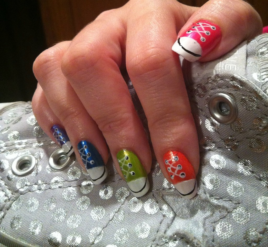 f54641d047c3 Converse nail art (Hope s art) Tags  art rainbow shoes colorful nail  creative polish