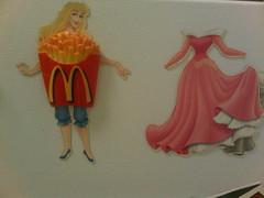 Sleeping Beauty's new outfit (radargeek) Tags: funny dress dressing mcdonalds clothes fries aurora magnet sleepingbeauty