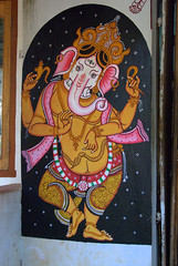 Beautifully painted walls of Raghurajpur Village - Dancing Ganesha (VinayakH) Tags: india art heritage artwork village traditional orissa artisan traditionalcrafts raghurajpur utkal tassar pattachitra odisha