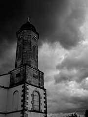 God was here (Daniel Dudek) Tags: ireland sky blackandwhite bw church clouds dark day god cloudy dramatic anger