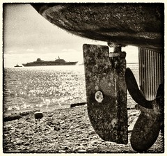 karnagio (big andrei) Tags: sea bw sepia boat ship fuji grain cyprus limassol is1 karnagio