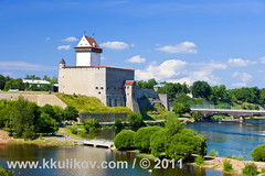 Estonia. Narva. (k.kulikov) Tags: old travel blue summer sky white building green tower castle history beautiful grass stone wall architecture clouds ancient europe estonia european view fort citadel background border landmark baltic medieval knight historical bastion fortress narva kkulikov