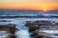 Boring La Jolla Sunset (Justin in SD) Tags: ocean sunset orange sun beach rock canon coast waves pacific sandiego dusk horizon rocky wave lajolla hdr boringsunset coastblvd canon5dmarkiii 5d3 5dmark3