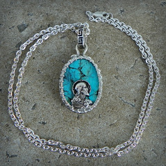 Brotherhood of man talisman of Jesus Morenci turquoise set in Sterling silver with Star of David (leespicedragon) Tags: blue art silver necklace christ turquoise ooak jesus jewelry metalwork handcrafted sterling spiritual magical starofdavid oval forged pendant amulet talisman pendants sterlingsilver morenci cabochon marvinleebillings