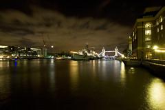 HMS Belfast, Tower Bridge & Hays Galleria (Owlwithoutfeathers) Tags: longexposure light london water thames night towerbridge ship battle hmsbelfast midnight slowshutter paintingwithlight photomerge redsky