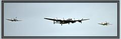 Lancaster, Spitfire and Hurricane (littlestschnauzer) Tags: world sky 3 three flying nikon memorial war britain aircraft hurricane wwii flight july battle airshow planes lancaster ww2 spitfire raf 2012 waddington d5000 waddington2012