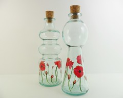 Oil Vinegar Bottles Red Poppies Hand Painted (Painting by Elaine) Tags: red green kitchen glass bottle painted handpainted poppy poppies shaker glassware kitchenware paintedglass paintedbottle oliveoilbottle paintingbyelaine oilvinegarbottle paintedoilvinegar