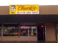 Chuck's (misterbigidea) Tags: street city family portrait food signs sign breakfast dinner logo lunch restaurant open view pacific cartoon diner landmark business hungry lettering script roadside avenue stockton chucks attraction eatery letseat since1960