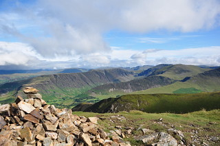 Scar Crags summit cairn and view