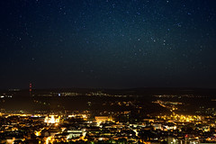 Stars over Trier (55Laney69) Tags: city sky panorama night 35mm canon germany stars deutschland astro 5d canon5d fullframe trier mariensule mk1 mki canon50mmf14usm