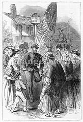 0045455 (Granger Historical Picture Archive) Tags: men america soldier union leg crowd civilwar american engraving middle veteran handicap yankee crutch troop injured amputee 1867 unionarmy