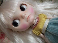 """""""That Pout""""........ (simplychictiques) Tags: blythe ooakblythedoll customblythedoll shabbychic jodiedollscustom grumpy pout adorable frecklesandpout airbrushfaceup closeup details cossettedress pretty pastels floss"""
