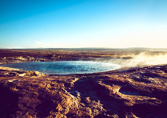 """""""your bath is ready"""" (10000 wishes) Tags: iceland hotspring steam cold rocky landscape sunny water freezing craggy"""