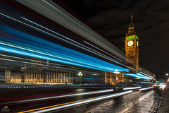 Light Trails at Westminster (Don Sullivan) Tags: london palaceofwestminster elizabethtower lightrails night bigben unitedkingdom westminsterbridge westminster bus light bridge reflection