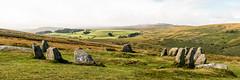 """Nine Stones""!! (Keith in Exeter) Tags: nine stones standing cairn circle dartmoor nationalpark devon england landscape moorland cloud mist tors hill grass outdoor photomerge panorama vista"