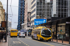 Willis Street (andrewsurgenor) Tags: transit transport publictransport nzbus gowellington electric trackless trolleybus trolleybuses wellington nz streetscenes bus buses omnibus yellow obus busse citytransport city urban newzealand