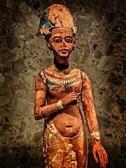 Closeup of Striding figurine of Akhenaten or Tutankhamun Egypt 18th Dynstary New Kingdom Amarna 1330 BCE - 1340 BCE Wood with gold accents (mharrsch) Tags: akhenaten tutankhamun pharaoh king ruler monarch egypt figurine wood 18thdynasty newkingdom 14thcenturybce neuesmuseum berlin germany mharrsch