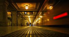 Sub Station Fixation (fehlfarben_bine) Tags: underground berlin available light reflections lights motion train urban nikondf 240700mmf28 fac u3breitenbachplatz