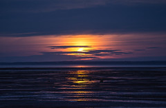 Moonrise over Medford beach (Nancy Rose) Tags: medford novascotia paddysisland beach bayoffundy lowtide sandstone rock oceanfloor sandandmud moonrise sunset rockformations 7555