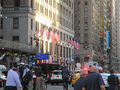 Rush Hour Crowd Walking Past Crime Scene 7th Ave 2016 NYC 5440 (Brechtbug) Tags: akram joudeh attacked an offduty nypd officer with 11inch cleaver from his waistband near penn station height evening rush hour thursday wounding cop face before being shot 18 times by police nyc 2016 midtown manhattan 7th ave 32nd street crowds checking out scene 9152016 new york city crime