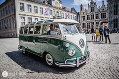 View of a 1960s era VW Transporter Van Type 2 or Kombi in Burg Square in old town, Bruges, Belgium (doctor.calavera) Tags: camping alternative street retro tourist volkswagen minibus campsite summer minivan shiny iconic sixties car bus style recreation antique trip transit third recreational freedom camper lifestyle timer oldtimer old drive automobile road symbolic vintage hippie vehicle rv utility nostalgic exterior side red classic beautiful travel belgium leisure mobile tour brugge tourism europe combi transport