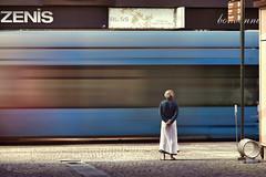 zen is bliss (cherryspicks (intermittently on/off)) Tags: man street people tram transport motion movement zagreb croatia urban city zenisbliss signage mundu skirt india travel serendipity