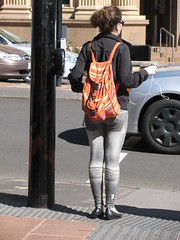 Are they painted on? (Foot Slogger) Tags: people bag jeans backpack skintight waitingtocrosstheroad