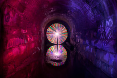 123/366 - Tunnel DLW Circle (tackyshack) Tags: longexposure light lightpainting reflection painting © tunnel jeremy jackson paintingwithlight flashlight gels dlw lightpainter leapyear lightphotography project366 lightjunkie tackyshack digitallightwand