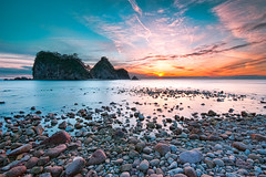 Sunset at Sanshiro Island (-TommyTsutsui- [nextBlessing]) Tags: longexposure blue winter light sunset sea orange sun seascape beach nature rock japan stone landscape nikon purple dusk magic tide scenic shore      izu    nishiizu sigma1020  onsalegettyimages