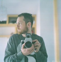 Oh Hai (Rick Nunn) Tags: light film self beard mirror bedroom hands fuji iso400 rick pentacon six nunn xtra anyforty