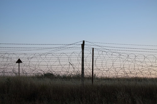 Karkamış, railway station, barbed wire, the border to Syria at sunset