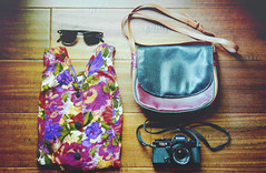 157 (Alyssa Jiosa) Tags: sunglasses 35mm floralshirt ricohkr5super vintagepurse clubmasters thriftedblouse
