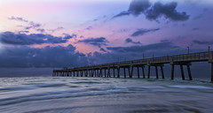Dania Beach Sunrise (Robby Ryke) Tags: longexposure pink blue sun colors sunrise lights pier florida daniabeach